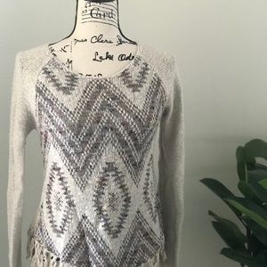 American Rag graphic sweater with frillies, small